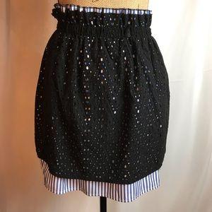 Zara Black Eyelet Overlay Skirt